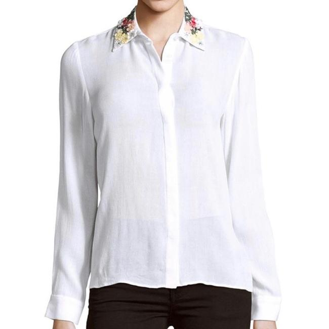 Alice olivia white and saira embroidered collar gauze for Gauze button down shirt