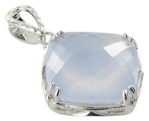 Tacori Classic Rock Pendant Enhancer Cushion Cut White Chalcedony Sterling