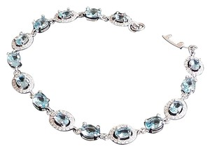 Gorgeous London Blue Topaz, White Topaz Ladies 925 Silver Bracelet 7.5