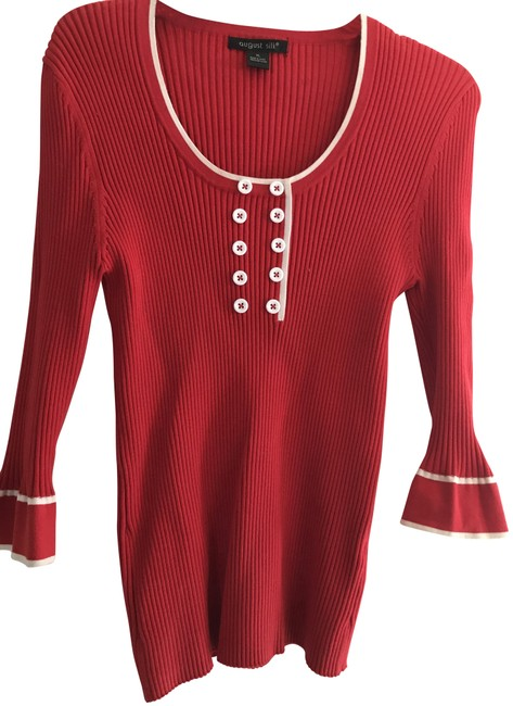 Preload https://img-static.tradesy.com/item/22707238/august-silk-red-with-white-trim-blouse-size-12-l-0-1-650-650.jpg