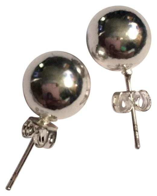 Item - Sterling Silver Ladies Solid Shiny Ball High Quality Earrings