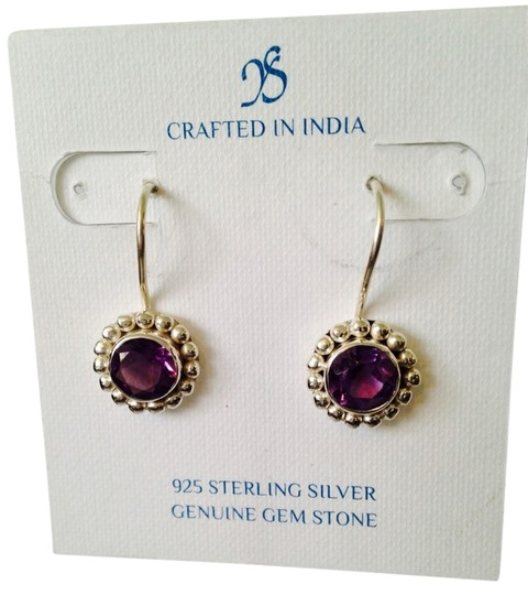 Preload https://item4.tradesy.com/images/js-collections-purplesilver-nwot-faceted-amethyst-428cts-in-beaded-halo-of-sterling-earrings-2270728-0-0.jpg?width=440&height=440