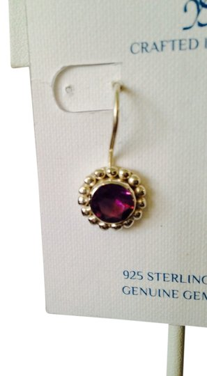 JS Collections NWOT Faceted Amethyst 4.28cts In Beaded Halo Of Sterling Silver Earrings