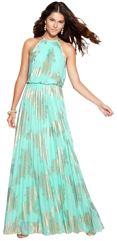 Xscape Teal/Gold Sleeveless Pleated Halter Gown Long Formal Dress ...