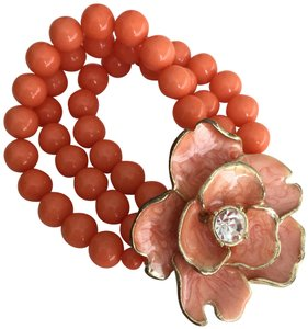 Other Coral Orange Bead Bracelet with Flower and Crystal