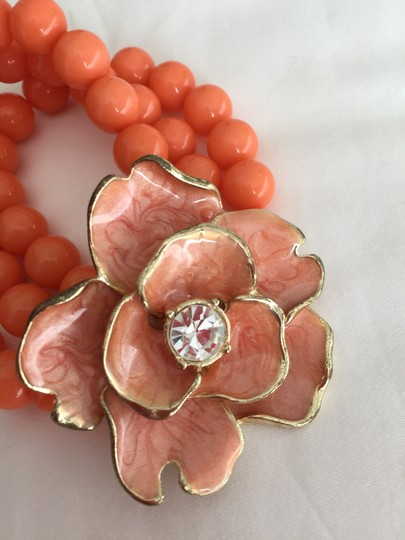 Other Coral Orange Bead Bracelet with Flower and Crystal Image 1