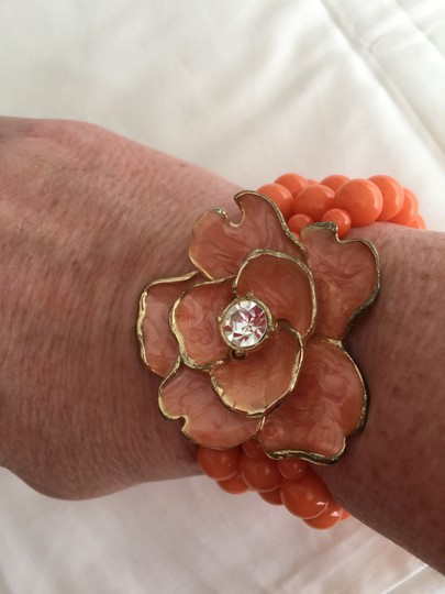 Other Coral Orange Bead Bracelet with Flower and Crystal Image 2