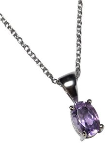 NY Collection 925 Sterling Natural Purple Amethyst Solitaire Pendant Womens Drop