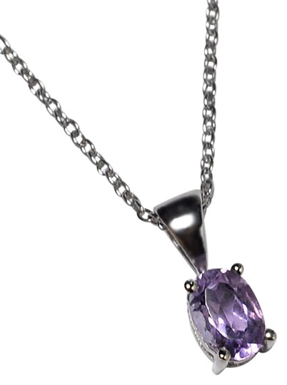 NY Collection 925 Sterling Natural Purple Amethyst Solitaire Pendant Womens Drop Image 0
