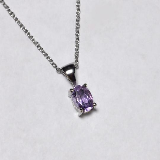 NY Collection 925 Sterling Natural Purple Amethyst Solitaire Pendant Womens Drop Image 1