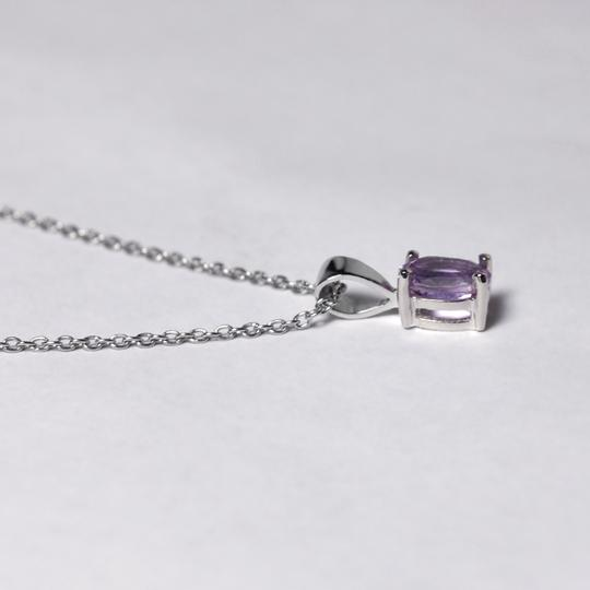 NY Collection 925 Sterling Natural Purple Amethyst Solitaire Pendant Womens Drop Image 2