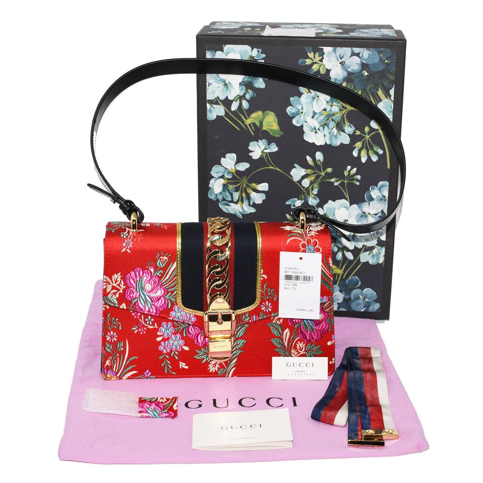 a7872d3284af Gucci Sylvie 421882 Tokyo Ribbon Hibiscus Floral Jacquard Fabric ...
