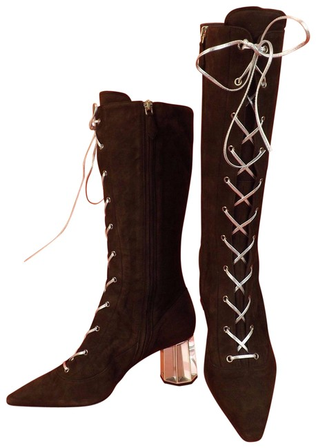Item - Brown Cocoa Suede Pointy Toe Lace Up Crystal Heel Mid Calf Boots/Booties Size EU 36.5 (Approx. US 6.5) Regular (M, B)