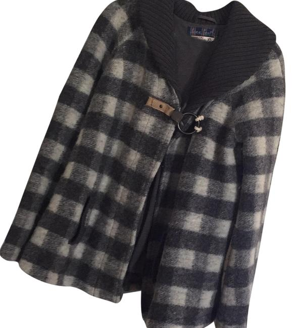 Item - Grey and White Checkered Collared Coat Size 10 (M)