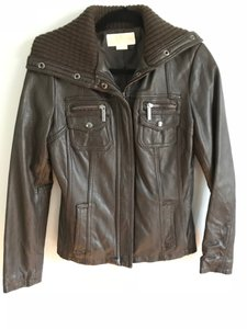 Michael Kors Wooven Brown Leather Jacket