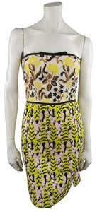 Giambattista Valli Linen Lace Strapless Floral Embroidered Dress
