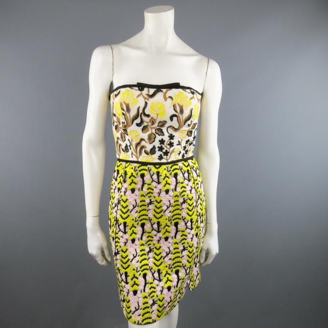Giambattista Valli Linen Lace Strapless Floral Embroidered Dress Image 3