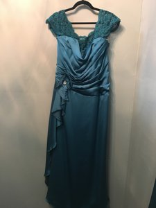 7267f142c6d Jasmine Teal Couture Satin Face Chiffon Lace K148059 Formal Bridesmaid Mob  Dress Size 18