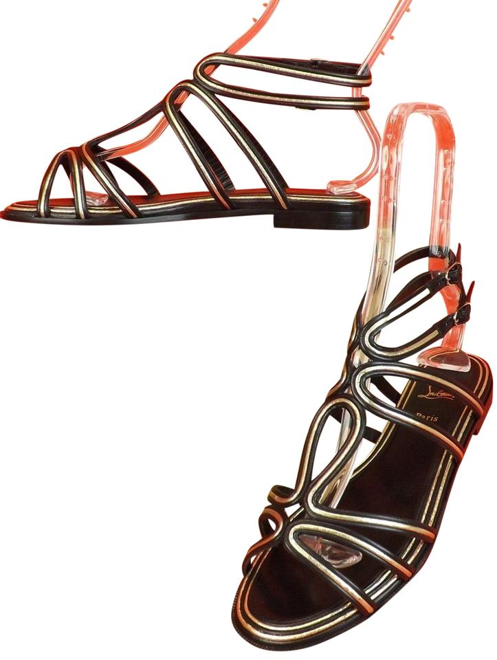 various colors 88aa7 51556 Christian Louboutin Multicolor Zenosandy Black Leather Caged Buckles Flats  Gladiator Sandals Size EU 40 (Approx. US 10) Regular (M, B) 31% off retail