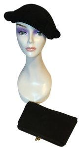 Veeda Louisa of California 1950's Black Felt Hat by Veeda Louise and Black Crepe Evening Bag / Clutch by After Five [ Roxanne Anjou Closet ]