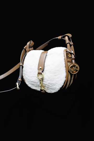 Michael Kors New With Leather Jamie Shearling Suede Cross Body Bag Image 2