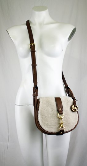 Michael Kors New With Leather Jamie Shearling Suede Cross Body Bag Image 3