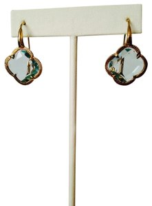 MIA NWOT Faceted Clover Blue Topaz Stone In Gold Earrings