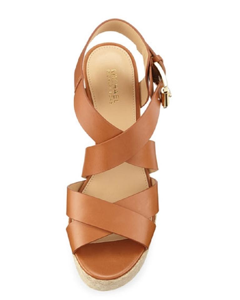 f809314c75e Michael Kors Wedge Leather Strappy Brown Luggage Sandals Image 8. 123456789