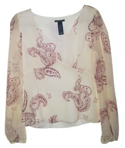 Kenneth Cole Silk Silk Paisley Pink Accents Top Transparent Cream
