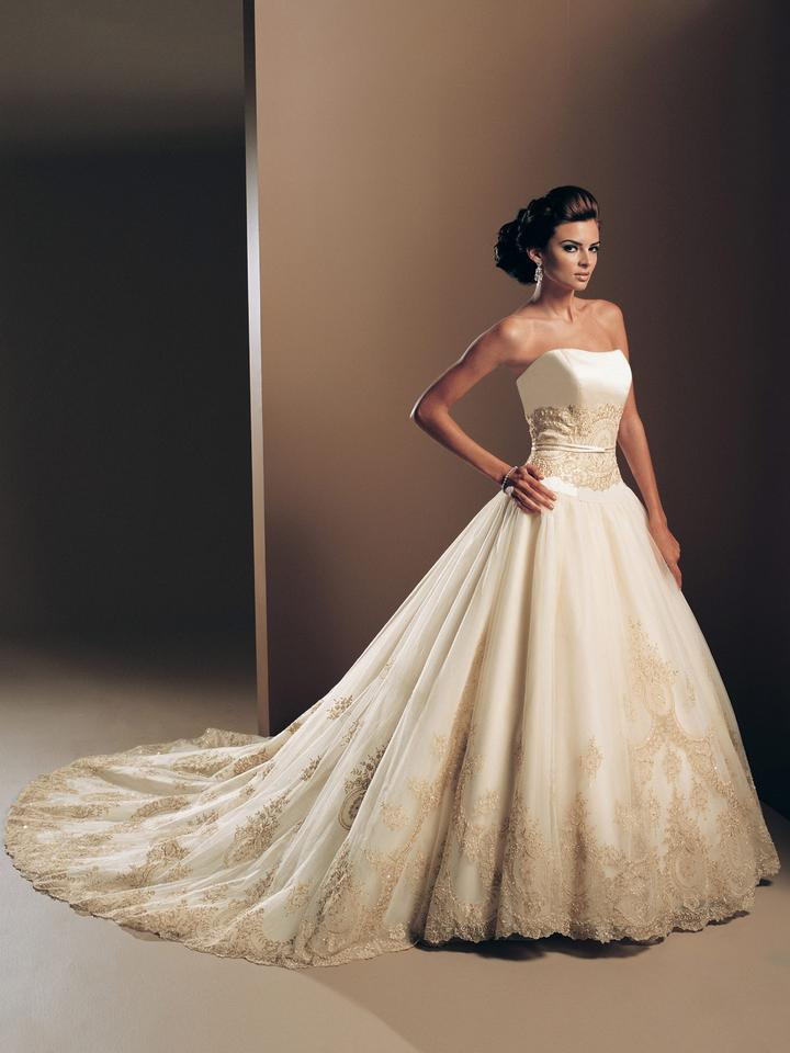 Ivory Gold Satin Tulle Lace Gown 16202 Vintage Wedding Dress Size 14 L