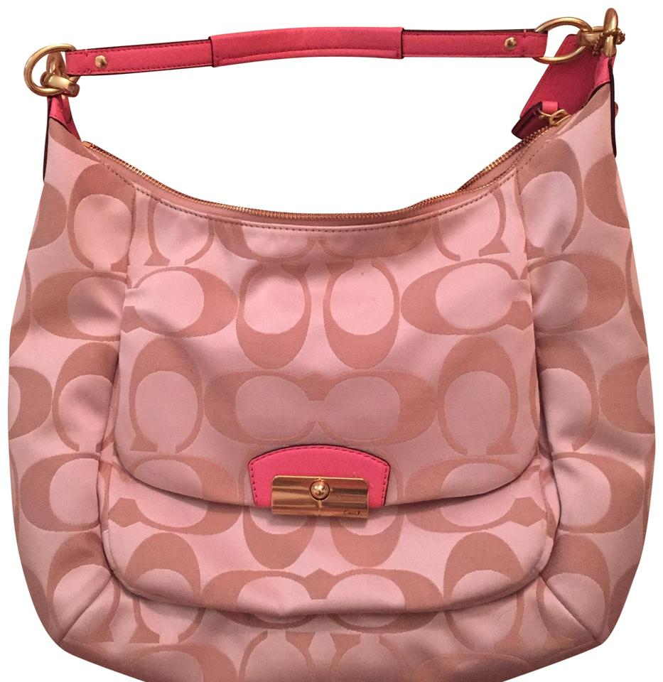 0d7e965f9800d Coach Shoulder Cream with Pink Straps Fabric Leather Hobo Bag - Tradesy
