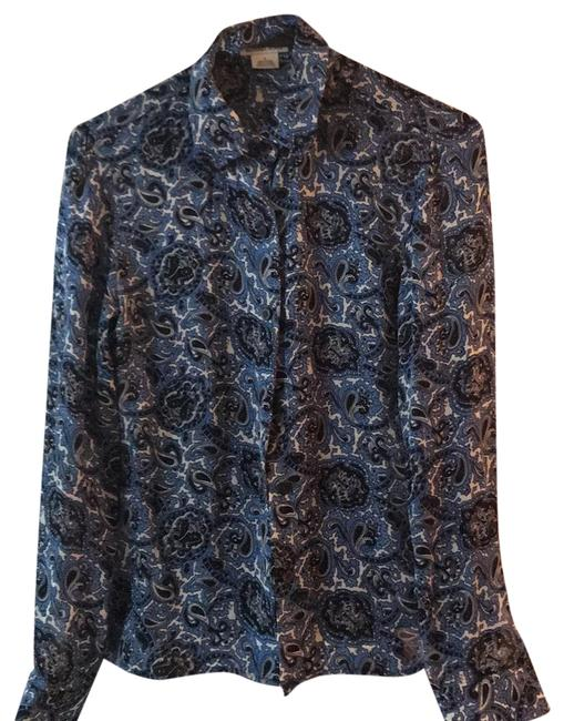 Preload https://img-static.tradesy.com/item/22708298/michael-michael-kors-blue-black-and-white-style-number-111818-button-down-top-size-2-xs-0-1-650-650.jpg