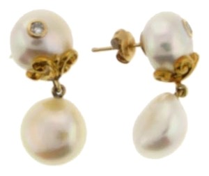 DIAMONDSY Wholesale - 18k Yellow gold diamond and pearl earrings - wholesale