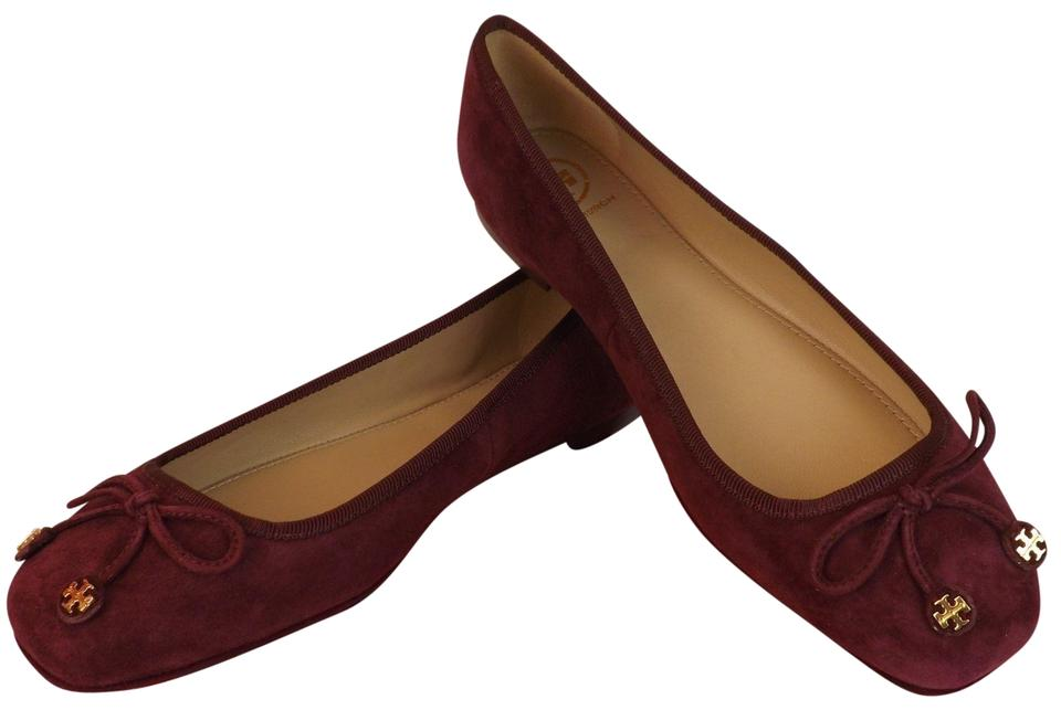 dcffcd64f55 Tory Burch Port Burgundy Laila Suede Bow Gold Reva Ballet Driver ...