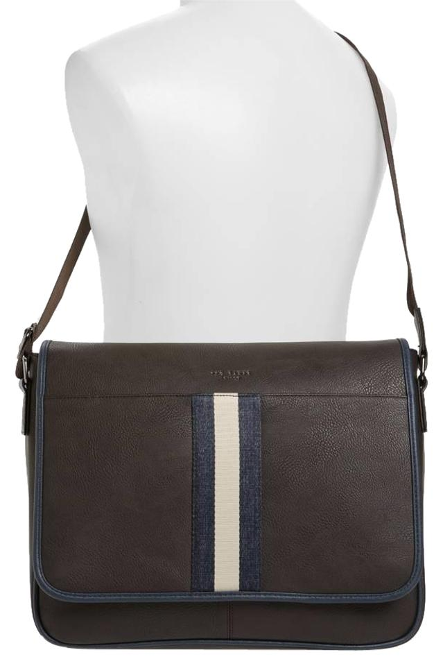 Faux Business Baker Bag Dark Messenger Body Flap Brown Cross Men New Leather Ted Stripes Laptop qAcZvXww6