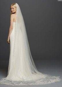 David's Bridal White Long One Tier Cathedral Sequin Embroidered Edge Veil