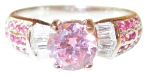 Other Natural Ruby and Pink Topaz and White Topaz 925 Sterling Silver Ring 7