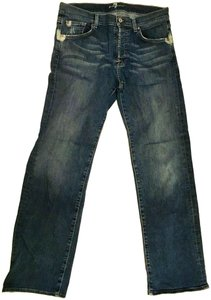 7 For All Mankind Wide Leg Button Fly Distressed Relaxed Fit Jeans-Distressed