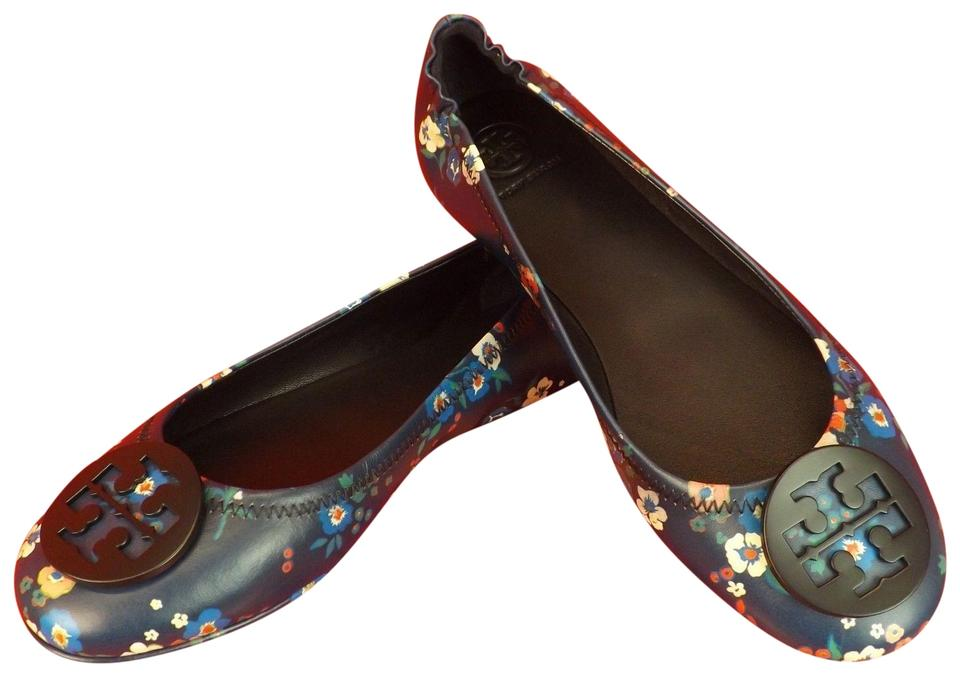 2997d7c4ac Reva Travel Tory Flats Blue Bouquet Ballet Floral Pansy Leather Navy color  Burch Multi Minnie PTHwRqP ...