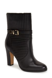 Vince Camuto Quilted Leather Buckle Strap Black Boots