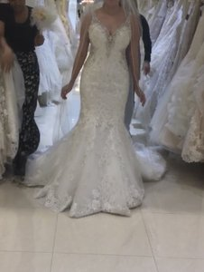 Allure Bridals Ivory Lace Style Number 9356 Wedding Dress Size 6 S