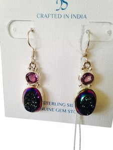 JS Collections NWT Green/Purple Drusy & Amethyst Gemstones In Sterling Silver Dangle Earrings