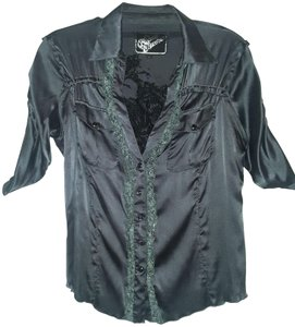 Soul Revival Silk Silk Embroidered Embellished Top Dark Moss Green