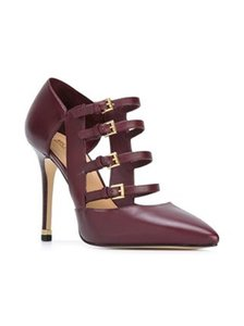 Michael Kors Buckled Burgundy Leather Plum Pumps