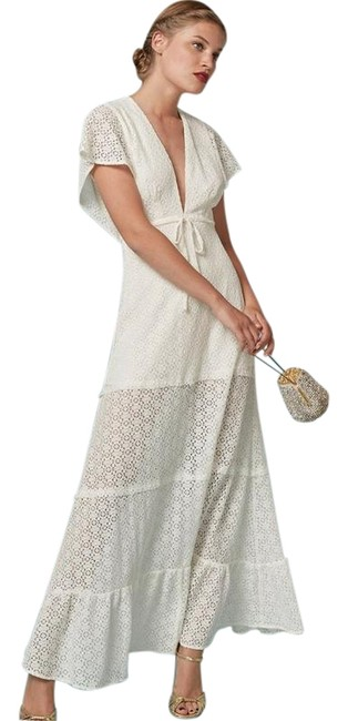 Item - Cream Lace Long Night Out Dress Size 4 (S)