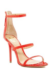 Vince Camuto Snakeskin Strappy Stiletto Fire Red Sandals