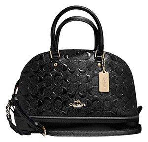 Coach Dome Leather Ox Blood Burgundy Embossed Satchel in black