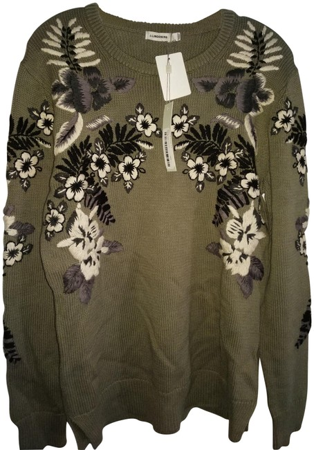 Item - L Embroidered Taupe Greenish Black White Sweater