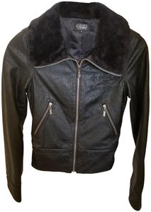 Sinful by Affliction Faux Leather Faux Fur Embroidery Motorcycle Jacket
