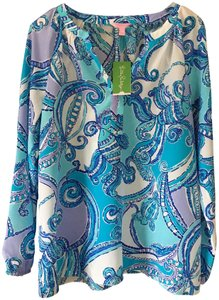 Lilly Pulitzer New Silk Paisley Type Print Aqua/White/Violet Elsie Top Searulean Blue/Test The Water